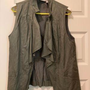 Chico's Drape Front Olive Green Vest Sz2 (12-14)